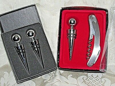 Wine Bottle Stoppers & Tool Original Boxes Bar Man Cave