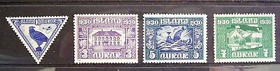Iceland - 1930, Old World Mixed Lot, 4 Great Mint Stamps As Photographed