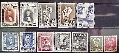 Iceland - Old World Mixed Lot, 12 Great Used/Mint Stamps As Photographed