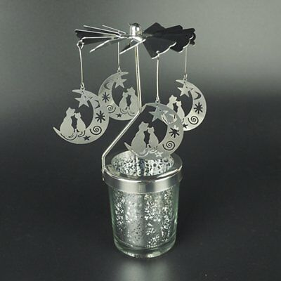 Cat On The Moon Romantic Rotation Candlestick Windmill Candle Holders W6