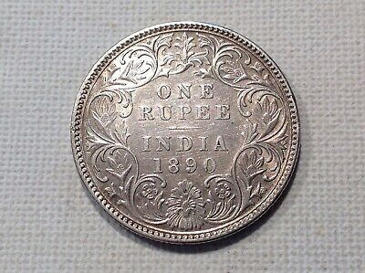 India One Rupee 1890 Very Fine Silver Coin !
