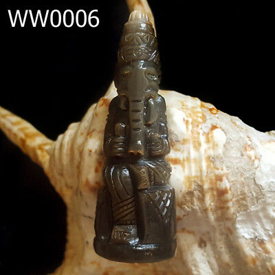 Rare Carved Bull Horn Ganesha Statue Fetish Lord of Success Thai Amulet #0006g