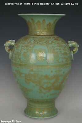 Fine Beautiful Chinese Monochrome Gilted Gold Porcelain Dragon Vase