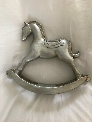 Small silver wooden rocking horse ornament