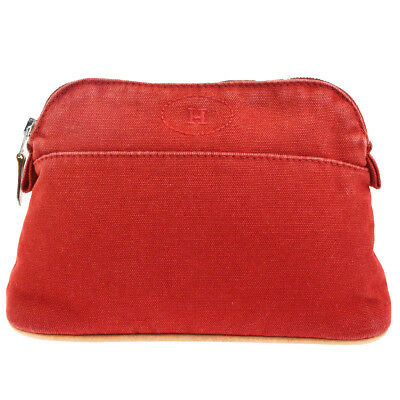 9f22a57934d8 Authentic HERMES H Logos Bolide MM Pouch Bag Cotton Leather Red France  08KA025