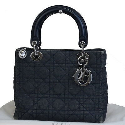 Auth Christian Dior Cannage Lady Mini Hand Bag Denim Leather Gray Blue 32EM609