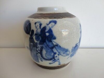 19Th C Chinese Porcelain Kangxi Marks Blue And White Jar