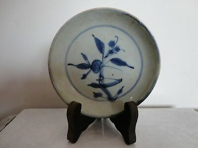 Authentic Small Chinese Ming dynasty blue and white plate 6, 16th C
