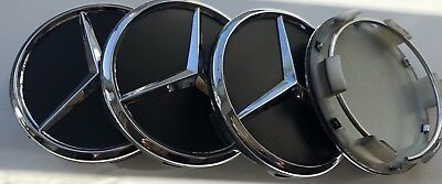 4x BLACK 60 MM OUTER 55 MM inner wheel centre Caps .  Fits Mercedes- Benz