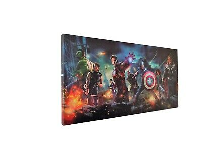 MAVEL SUPERHEROES AVERGERS CANVAS PICTURE Ready to Hang Size 60x30cms 600x300mm