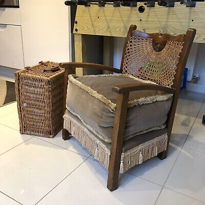 Antique Childs French Cane Back Bergere Chair & Puffy