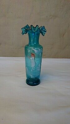 Genuine EARLY VICTORIAN Mary Gregory Sapphire Blue Vase