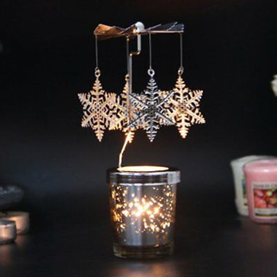 Snowflake Romantic Rotation Candlestick Windmill Starry Sky Candle Holders Q