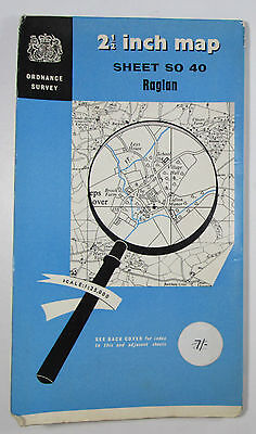 1960 old vintage OS Ordnance Survey 1:25000 First Series Map SO 40 Raglan