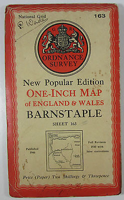 1946 Old OS Ordnance Survey one-inch map New Popular Edition 163 Barnstaple