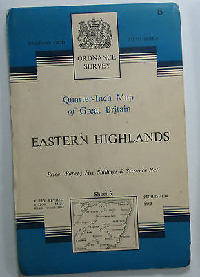 1963 old OS Ordnance Survey quarter-inch Fifth Series map 5 Eastern Highlands