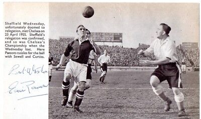 ERIC PARSONS 1955 SIGNED CHELSEA ACTION PICTURE v SHEFFIELD WEDNESDAY
