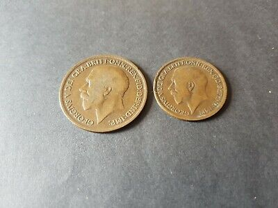 1917 2 UK Coins One Penny Half Penny George V