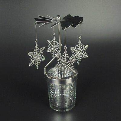 Leaves Shape Romantic Rotation Candlestick Windmill Candle Holder Gift QI