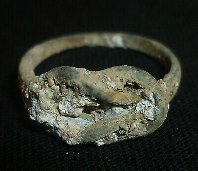 CELTIC Ancient Bronze TWISTED RING - Circa 100 BC                -25