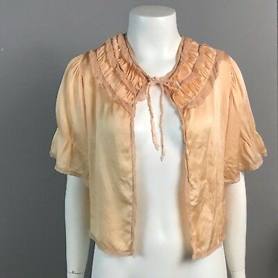 Vintage 50s Peach Cropped Open Front Tie Collar Semi Sheer Bed Jacket Lingerie S
