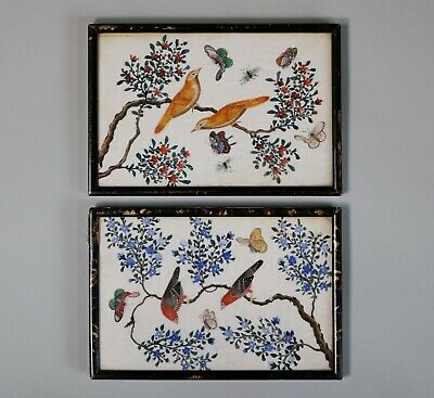 Pair of Antique Chinese 19th Century Bird and Insect Pith Paper Paintings