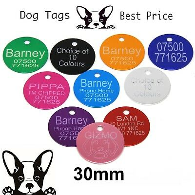 Engraved Pet Tags Aluminium DOG CAT Round 30mm 10 Colours Engraving Identity