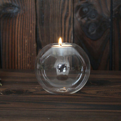 8/10/12CM Clear Round Hollow Heat Resistant Glass Candle Holder Candlestick/-W
