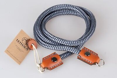 Lethaus - Rope Camera Strap With Leather Connector - (Grey / Coniac)