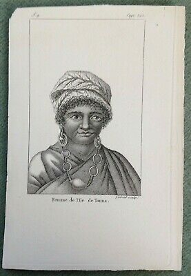 Vanuatu Tanna Island Woman 1809 Xix Century Antique Copper Engraved Plate