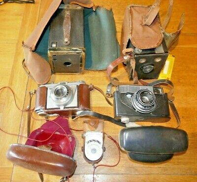 Collection of old cameras kodak Agfa Box Brownie's
