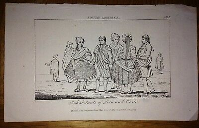 PERU & CHILE INHABITANTS DATED 1815 BY LONGMAN 19e CENTURY ANTIQUE ENGRAVED VIEW