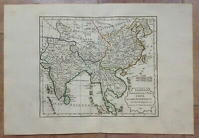 India Southeast Asia China Dated 1806 Vaugondy Delamarche Antique Engraved Map