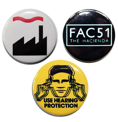 3 x 25mm FACTORY RECORDS(THE HACIENDA) Button Badges - NEW!