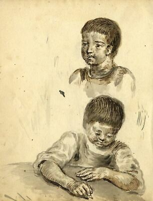 George Evans, Child at Desk Writing - 18th-century watercolour painting