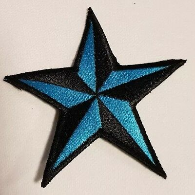 Stern Schwarz blau Rockabilly Tattoo Aufnäher Punk Patch Nautic Star old school