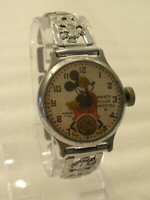 "1930's ""Made in USA"" Ingersoll Mickey Mouse Watch Orig. Bracelet & Serviced!"