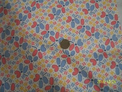 "Vintage Antique Quilt Cotton Fabric Bubblegum Pink Blue 30""s Feedsack Era 1yd"