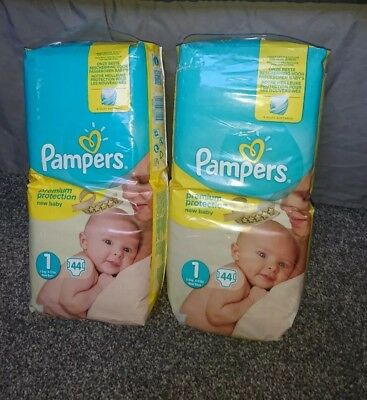 2 Packs of Pampers New Born 44 Nappies, 2-5 kg, Size 1 **COLLECTION ONLY**
