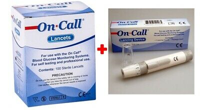100 Sterile Lancets and Auto Lancing Device by On Call