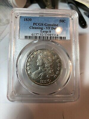 1830 PCGS Genuine VF Detail Large 0 Capped Bust Silver 50C