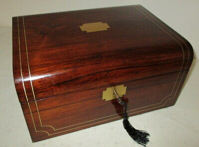 STUNNING VICTORIAN ROSEWOOD & INLAID BRASS WRITING SLOPE with key