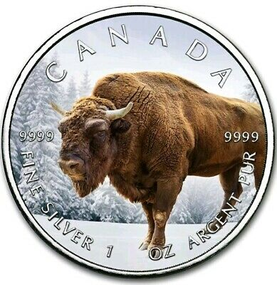 2019 $5 Canadian Maple Leaf NORTHERN BISON 1 Oz Silver Coin..