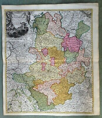 GERMANY WESTFALIA JB HOMANN 1720 18e CENTURY LARGE NICE ANTIQUE ENGRAVED MAP