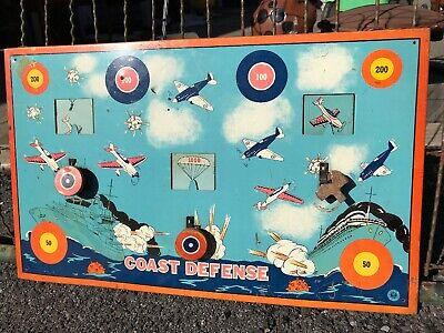 Vintage Coast Defense Army Navy Tin Military Shooting Gallery Target Game Litho