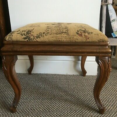 Antique Walnut Footstool with Carved legs and Drop in Upholstered Seat