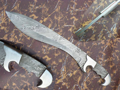 Full Tang Beautiful-Custom-Hand-Made-Damascus Steel Hunting Knife Blank Blade .