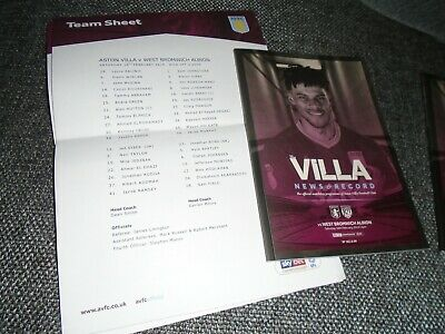 Aston Villa v West Bromwich Albion  2018/19 (0-2) Programme and team sheet