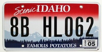 "Scenic Idaho ""Famous Potatoes"" License Plate, 8B HL062, Bonneville County"