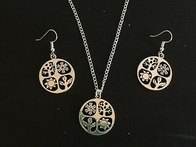 FOUR SEASONS WHEEL OF THE YEAR EQUINOX  NECKLACE &  EARRINGS Silver Plated Chain